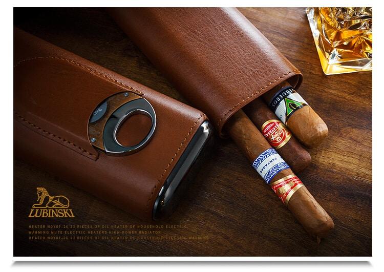Bao da Lubinski màu nâu với 3 điếu xì gà