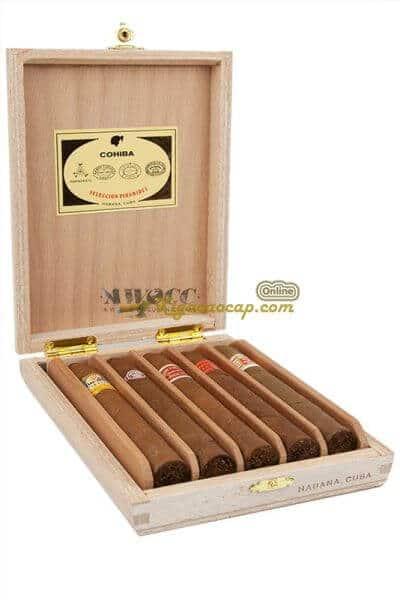 Hộp Habanos Seleccion Petit Robustos với 5 điếu xì gà ngon nhất từ 5 thương hiệu hàng đầu Cuba