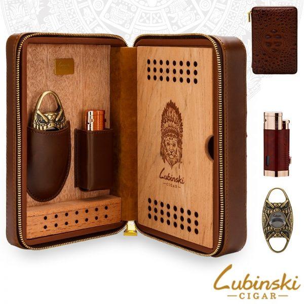 Hộp đựng xì gà Vân Cá Sấu 4 điếu Lubinski Crocodile