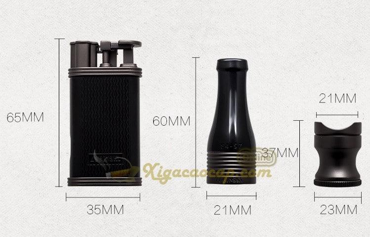 bo phu kien lubinski black3 1 - Bộ Set xì gà Lubinski Black - 3 món bật lửa, tẩu, gá để