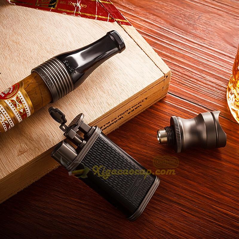 bo phu kien lubinski black3 2 - Bộ Set xì gà Lubinski Black - 3 món bật lửa, tẩu, gá để