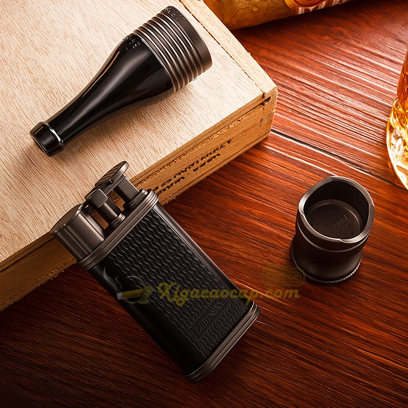 bo phu kien lubinski black3 3 - Bộ Set xì gà Lubinski Black - 3 món bật lửa, tẩu, gá để