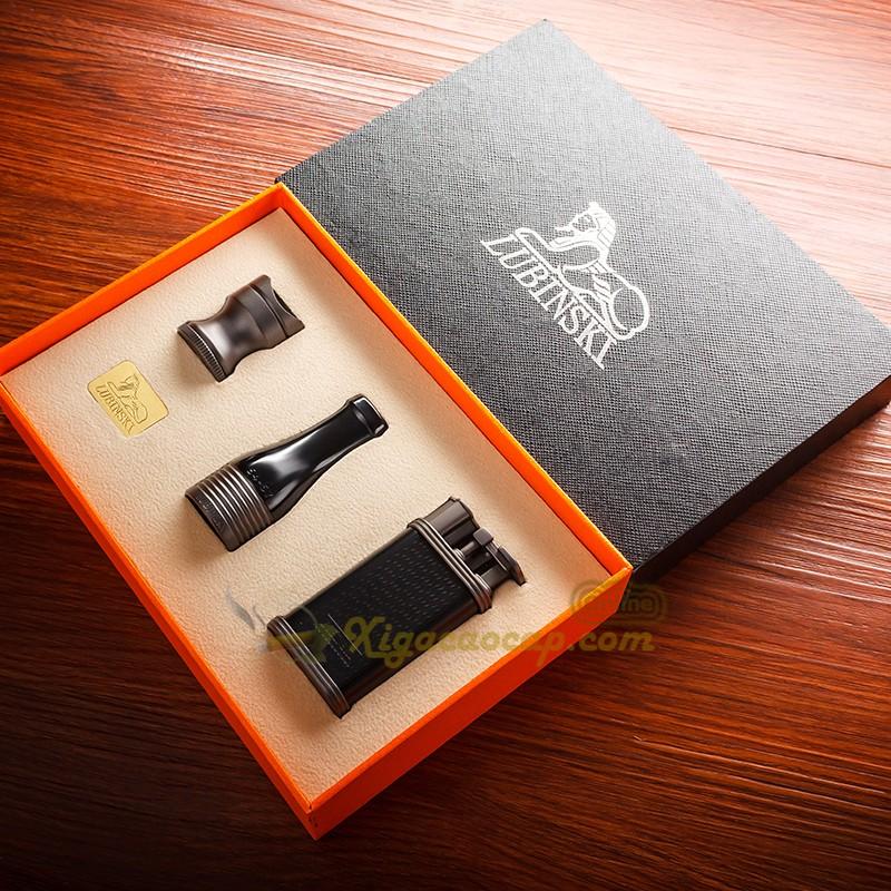 bo phu kien lubinski black3 5 - Bộ Set xì gà Lubinski Black - 3 món bật lửa, tẩu, gá để